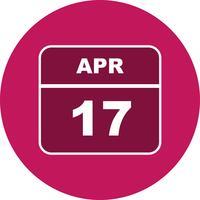 17 avril Date sur un calendrier d'une journée vecteur