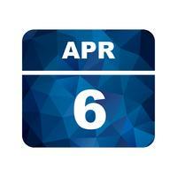 6 avril Date sur un calendrier d'une journée