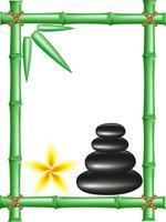 spa zen stones et cadre en bambou vecteur