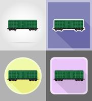 chemin de fer transport train plat icônes vector illustration