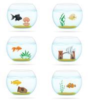 poisson dans une illustration vectorielle d'aquarium transparent