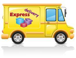 livraison express de voiture de courrier et de colis vector illustration