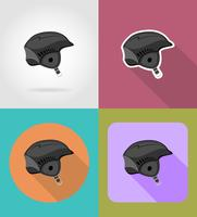 casque plat ski icônes vector illustration