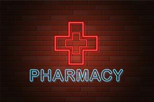illustration vectorielle de brillant néon enseigne pharmacie vecteur