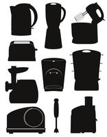 définir des icônes appareils électriques pour l'illustration vectorielle de cuisine silhouette noire