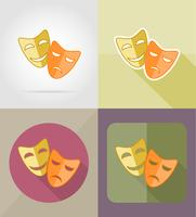 théâtre masques icônes plates vector illustration