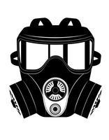 illustration vectorielle d'icône masque à gaz noir et blanc