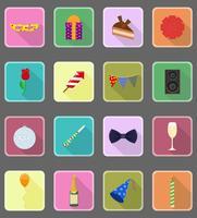 célébrations mis icônes plates vector illustration