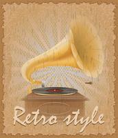 illustration vectorielle de style rétro affiche vieux gramophone