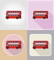 vieux icônes de plat bus rétro vector illustration
