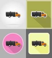 livraison de camion de fret et transport d'icônes de carburant plat vector illustration