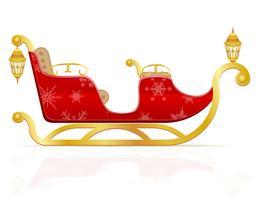 traîneau de Noël rouge de l'illustration vectorielle de père Noël vecteur