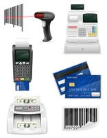 équipement bancaire pour un magasin mis icônes illustration vectorielle stock