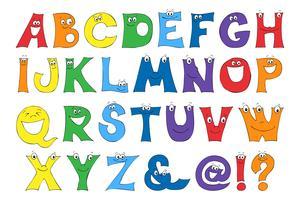 Les lettres des enfants dans le dessin animé. Ensemble de lettres lumineuses multicolores pour les inscriptions. vecteur