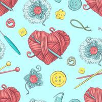 Joli modèle sans couture de pelotes de laine, boutons, pelotes de laine ou tricot et crochet.
