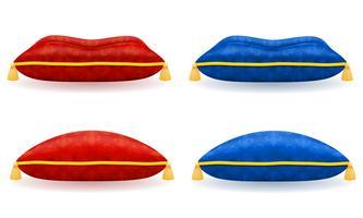 oreiller de satin bleu rouge avec illustration vectorielle or corde et glands