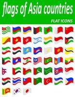 drapeaux des pays de l'Asie icônes plats vector illustration