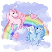 Carte postale fantastique avec Pegasus et Licorne vecteur