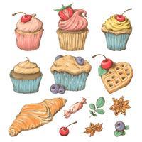 Capcake sucré à la crème. Set de cartes vectorielles vecteur