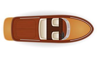 bateau à moteur vintage vieux rétro faite d'illustration vectorielle en bois