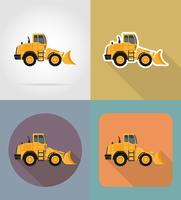 bulldozer pour travaux routiers icônes plats vector illustration