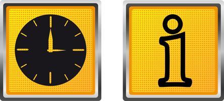informations sur les icônes et horloge pour illustration vectorielle de conception vecteur