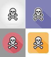 crâne et os croisés icônes plats vector illustration