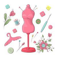Ensemble d'accessoires de couture de mannequin. Dessin à main levée. Illustration vectorielle