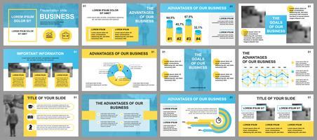 Modèles de diapositives de présentation d'entreprise à partir d'éléments infographiques. Peut être utilisé comme modèle de présentation, dépliant et dépliant, brochure, rapport d'entreprise, marketing, publicité, rapport annuel, bannière.