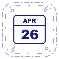 26 avril Calendrier d'une journée vecteur