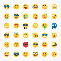 Plat Emoji Emoticon Vector Icon Set