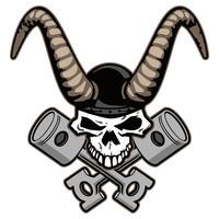 Crâne avec des cornes et des pistons croisés vector illustration