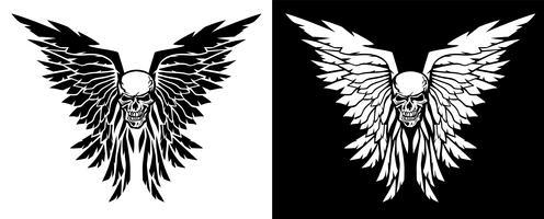 Crâne classique et ailes vector illustration dans les versions noir et blanc