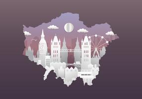 London City Skyline avec des bâtiments célèbres dans le style Papercut vecteur