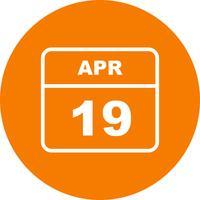 19 avril Date sur un calendrier d'une journée