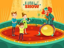Affiche de spectacle de bulles de performance de clown de cirque