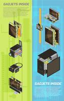 ensemble de bannière de schéma de gadgets vecteur