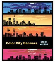 Bannière de la ville en couleur vecteur