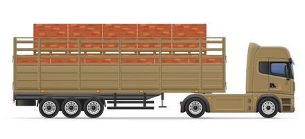 camion semi remorque livraison et transport d'illustration vectorielle de matériaux de construction concept vecteur
