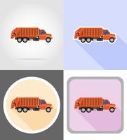 camion enlever les ordures plats icônes vector illustration