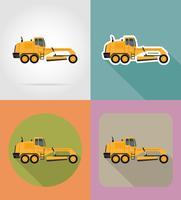 niveleuse pour travaux routiers icônes plats vector illustration
