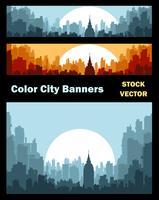 Bannières sur le thème de la ville vecteur