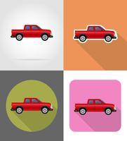 voiture pickup icônes plats vector illustration