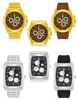 illustration vectorielle de montre-bracelet mécanique or et argent