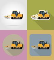 chenille tracteur plat icônes vector illustration