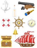 ensemble d'icônes antiques de mer vector illustration