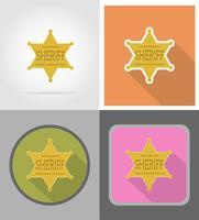 Shérif étoile far west icônes plates vector illustration
