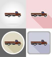 camion de fret pour le transport de marchandises plats icônes vector illustration