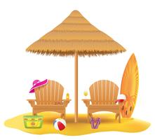 Fauteuil de plage chaise longue chaise longue en bois et parasol en illustration vectorielle paille et roseau