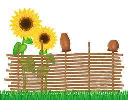 clôture en osier de brindilles avec illustration vectorielle de tournesols vecteur